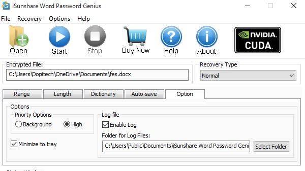 word password options tab