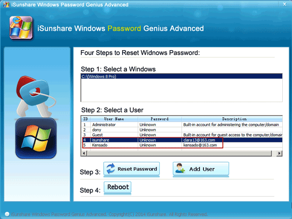reset windows password with isunshare windows password genius