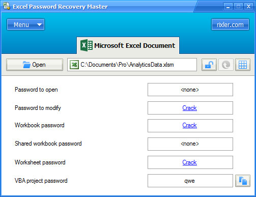 best rixler excel password recovery master