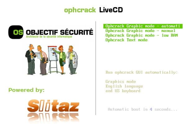 Boot From Ophcrack Disc In Automatic Mode