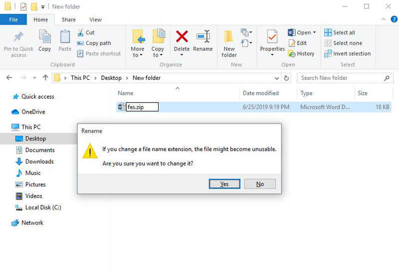 change word document to zip