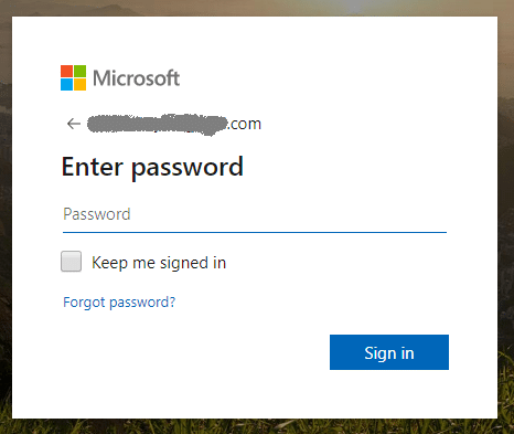 click forgot password on Microsoft