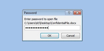 enter known password to open word document