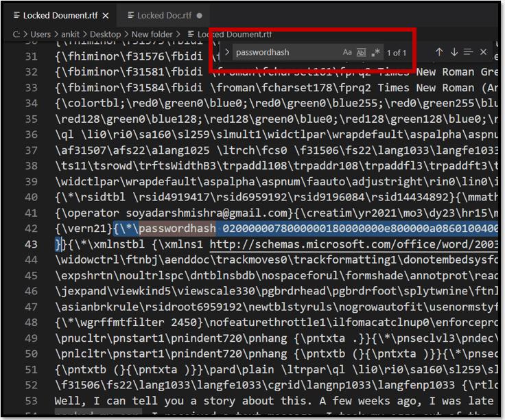 Delete passwordhash code to edit a locked Word document