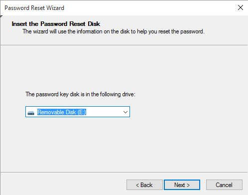 Select the inserted password reset disk to reset Windows 10 admin password