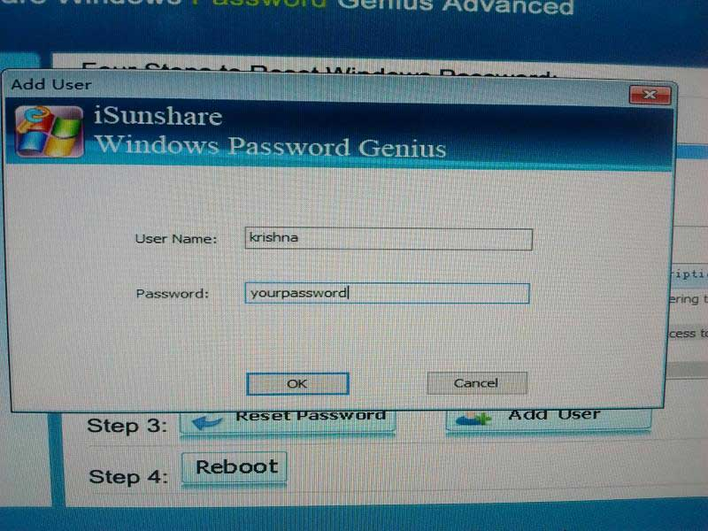 isunshare windows add user details