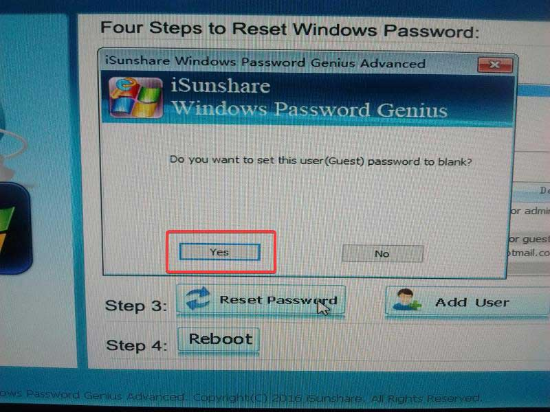 isunshare windows click yes to set this user password to blank