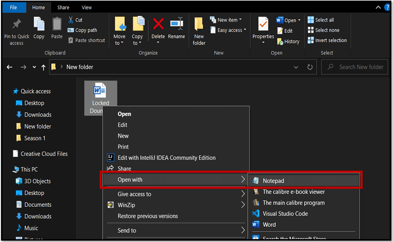 Open RTF file with Notepad