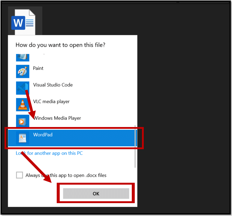 Open the protected Word document with Wordpad