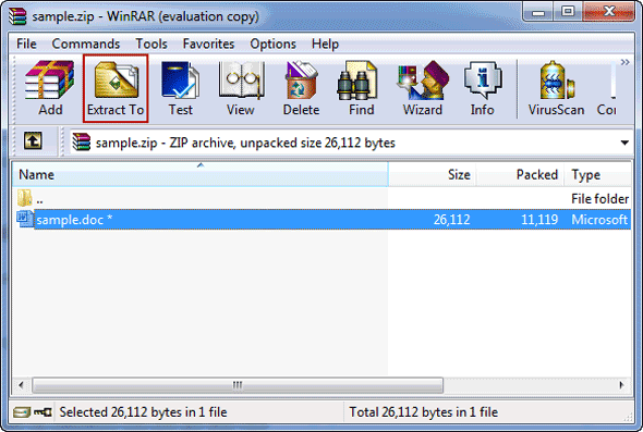 open zip archive in winrar