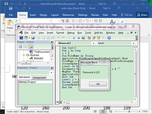 recovered Word password in VBA