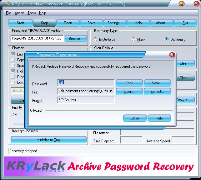 retrieve RAR password with KRyLack RAR Password Recovery