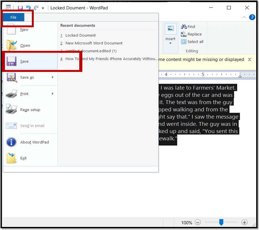 Save the locked Word document after edited