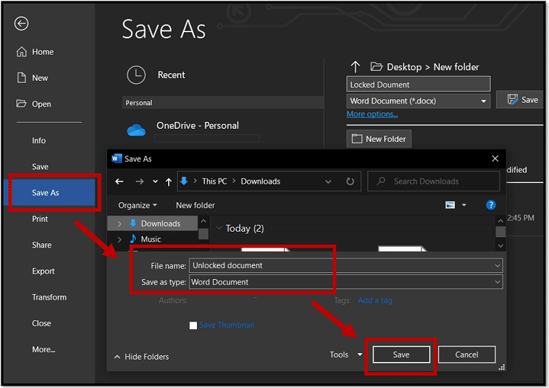 Edit a protected Word document by saving it as a new file