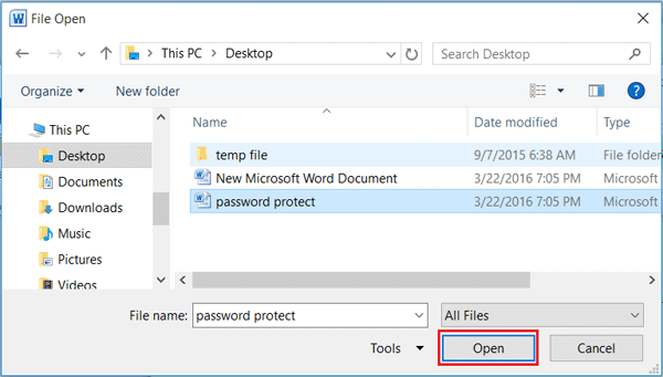 select password protected word file in VBA