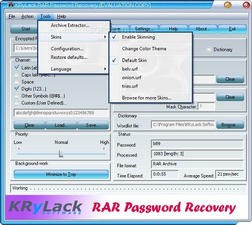 specify character sets in KRyLack RAR Password Recovery