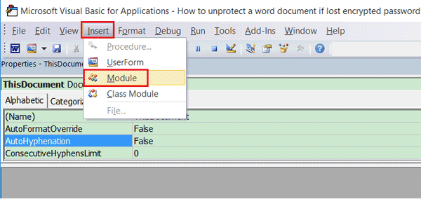 Unprotect Word document with VBA code