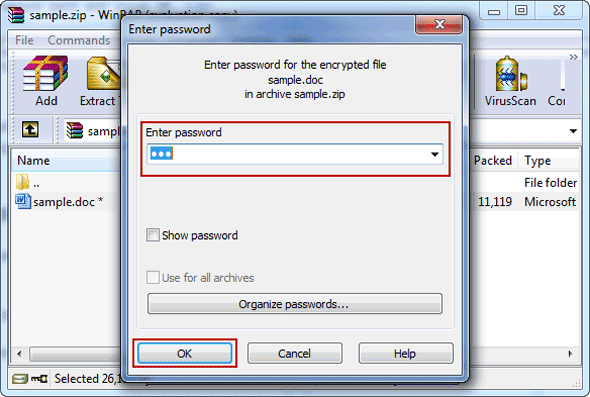 unzip zip file password