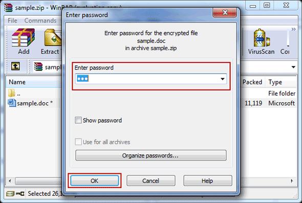 unzip zip file password