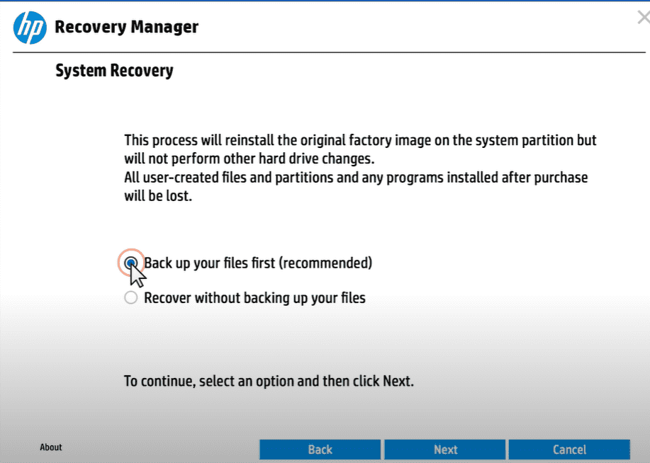 hp recovery manager file backup