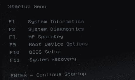 HP laptop BIOS setup