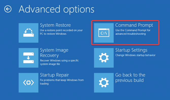 Select Command Prompt from Advanced options on Windows 10