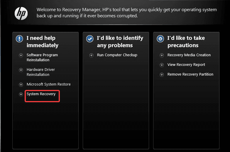 choose system recovery in hp recovery manager
