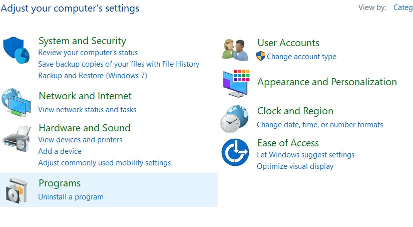 Control Panel on HP laptop