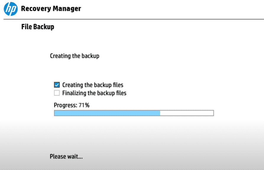 Creating the backup on HP Recovery Manager