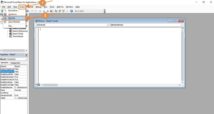 VBA window