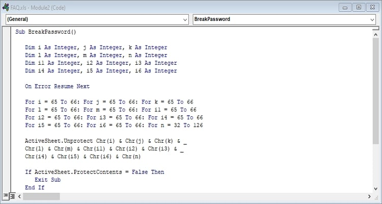 Paste the codes on VBA to crack password protected Excel