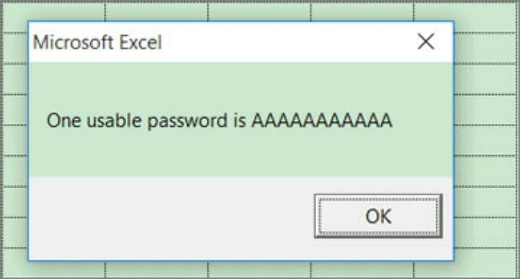 Usable password in VBA for Excel file