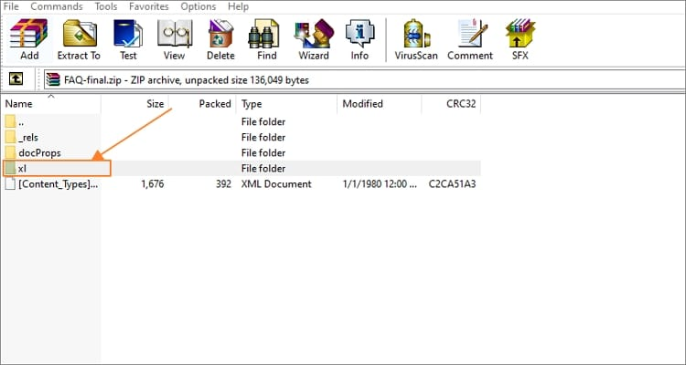 Open new zipped Excel file on ZIP software