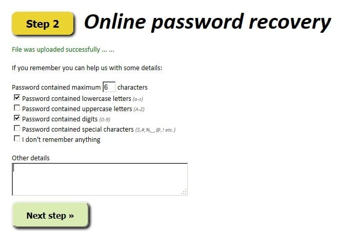 Provide the Excel password details online