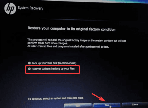 recover without backing up files in hp recovery manager