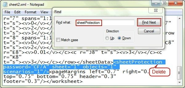 Remove selected code to unlock Excel