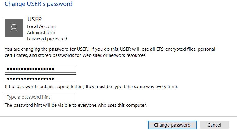 Type the new password on HP laptop