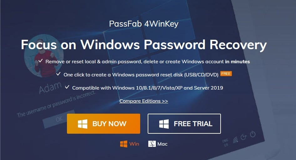 PassFab 4WinKey - Offline NT Password & Registry Editor alternative
