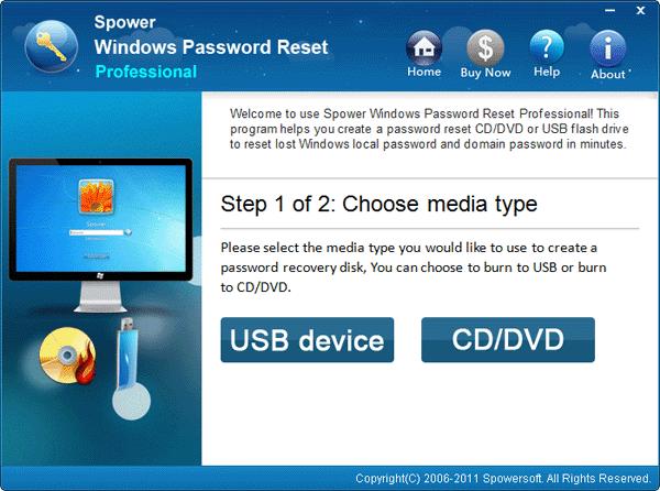 Spower Windows Password Reset