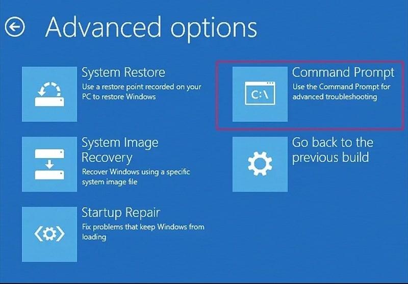 Command prompt on Advanced Option Menu