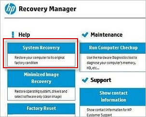 hp recovery manager system recovery