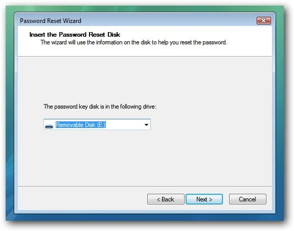 insert password reset disk in dell laptop