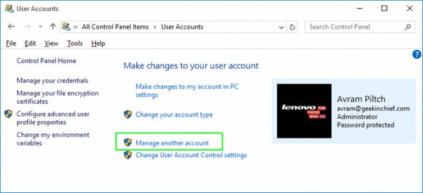 unlock HP laptop with another admin account