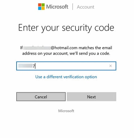 microsoft entering security code