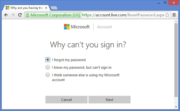 I forgot password box option on microsoft highlighted