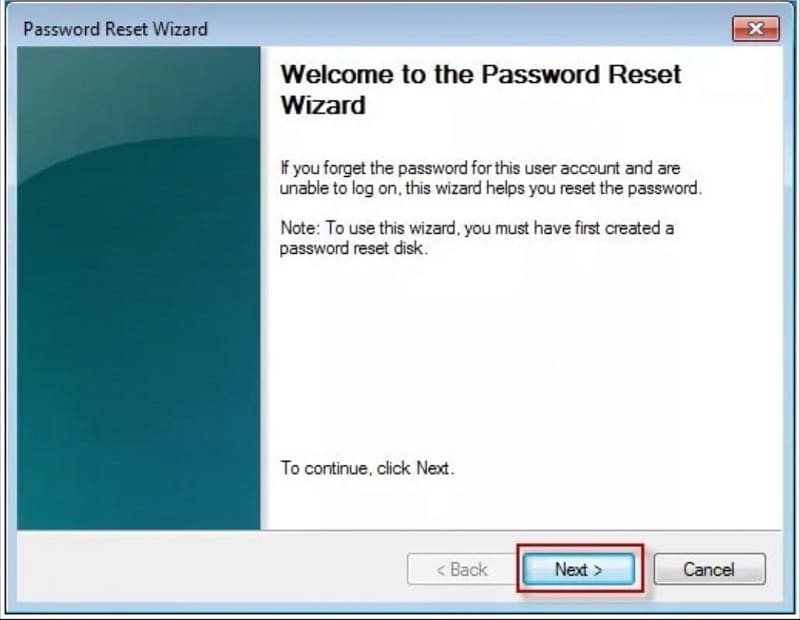 hit the next button to begin the password reset process in laptop