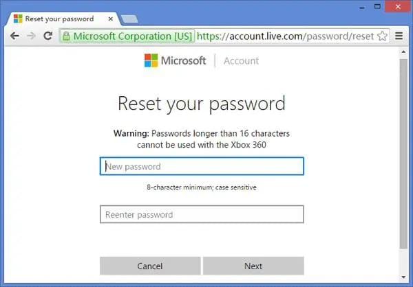 reset password for microsoft