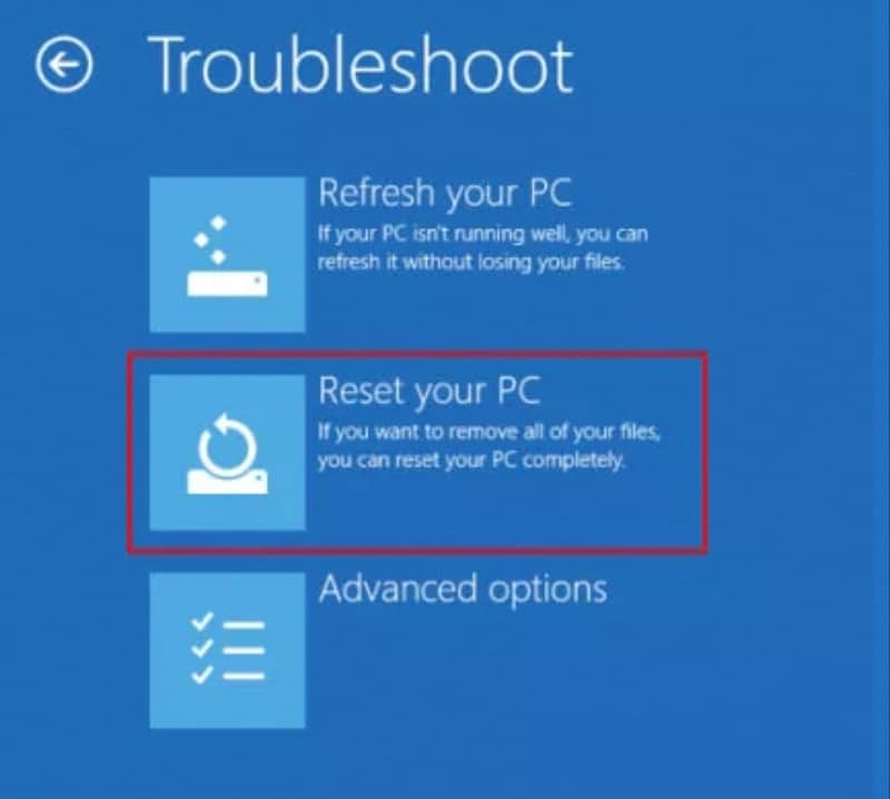 reset your pc on Lenovo laptop