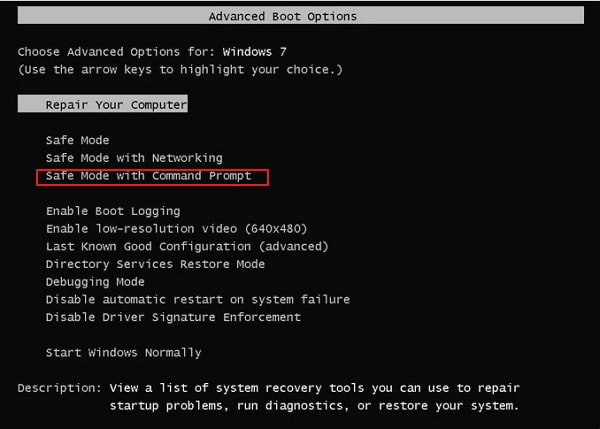 Unlock Toshiba laptop with Command prompt in Safe Mode