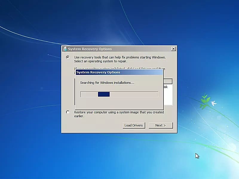 system recovery window